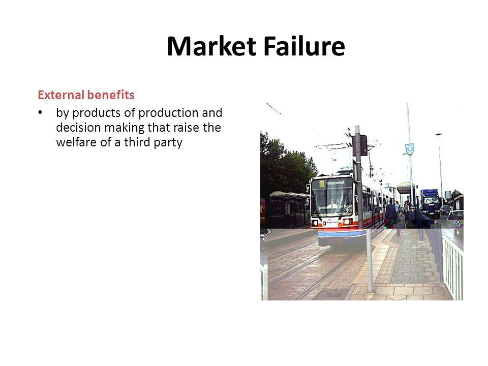 Market Failure External benefits by products of production and decision making that raise the welfare of a third party