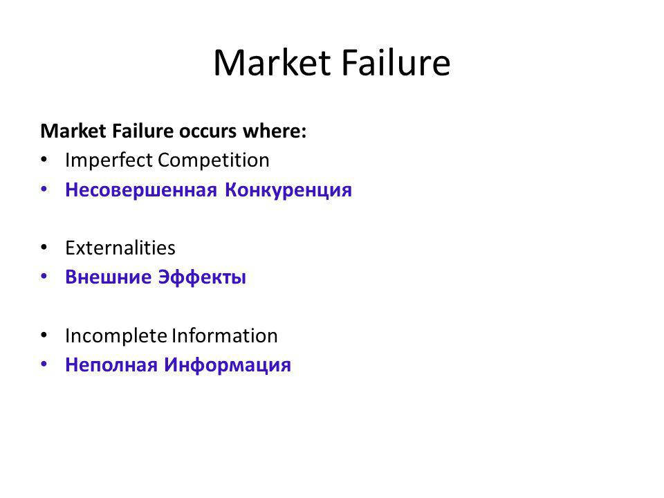 Market Failure Market Failure occurs where: Imperfect Competition Несовершенная Конкуренция Externalities Внешние Эффекты Incomplete Information Непол