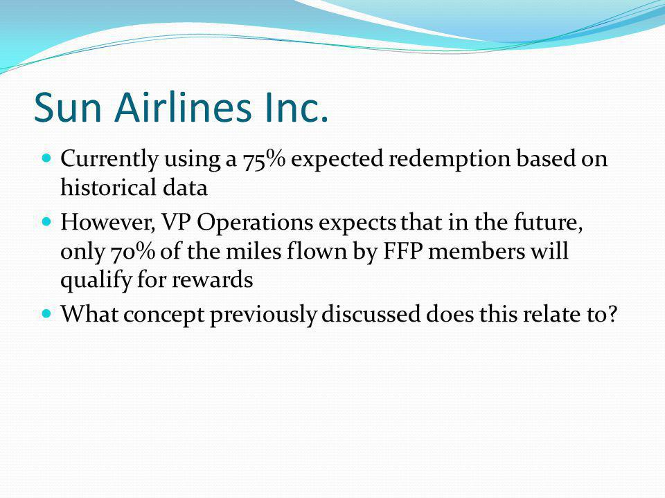 Sun Airlines Inc. Currently using a 75% expected redemption based on historical data However, VP Operations expects that in the future, only 70% of th