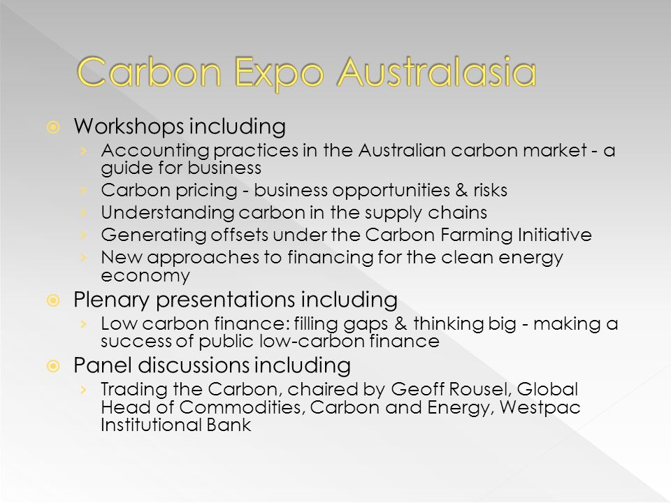 Workshops including Accounting practices in the Australian carbon market - a guide for business Carbon pricing - business opportunities & risks Unders