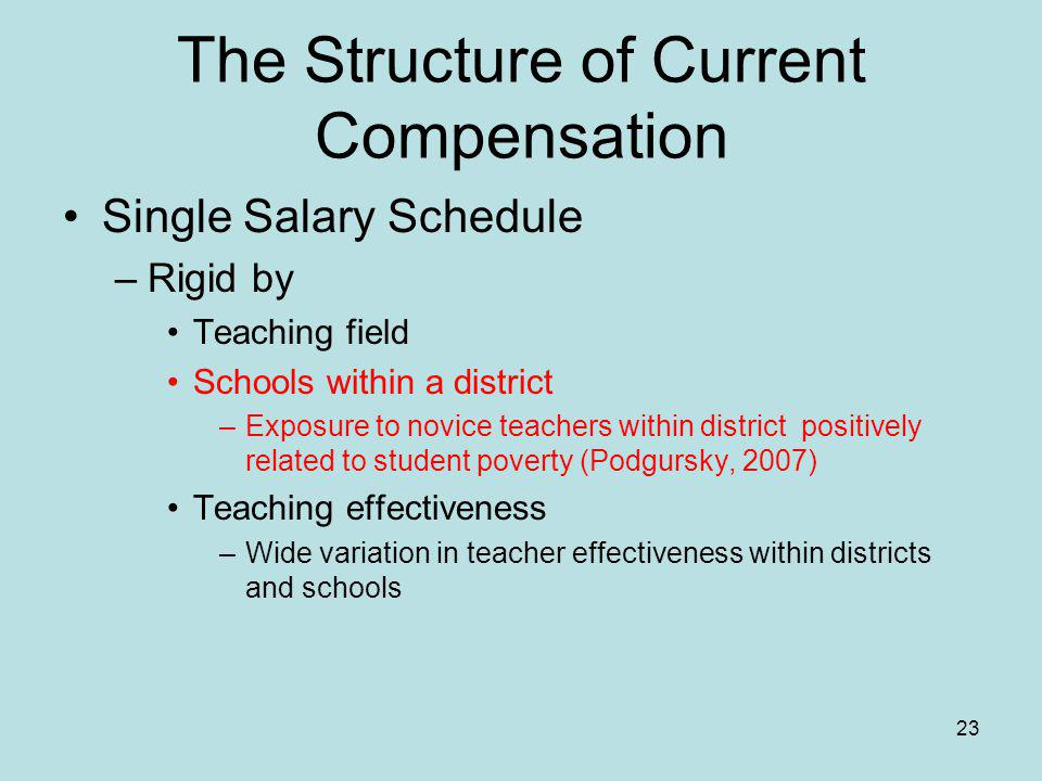 The Structure of Current Compensation Single Salary Schedule –Rigid by Teaching field Schools within a district –Exposure to novice teachers within district positively related to student poverty (Podgursky, 2007) Teaching effectiveness –Wide variation in teacher effectiveness within districts and schools 23