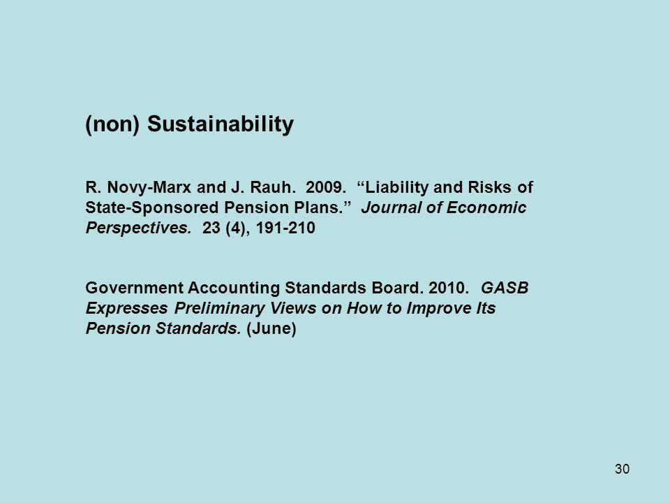 30 (non) Sustainability R. Novy-Marx and J. Rauh. 2009. Liability and Risks of State-Sponsored Pension Plans. Journal of Economic Perspectives. 23 (4)