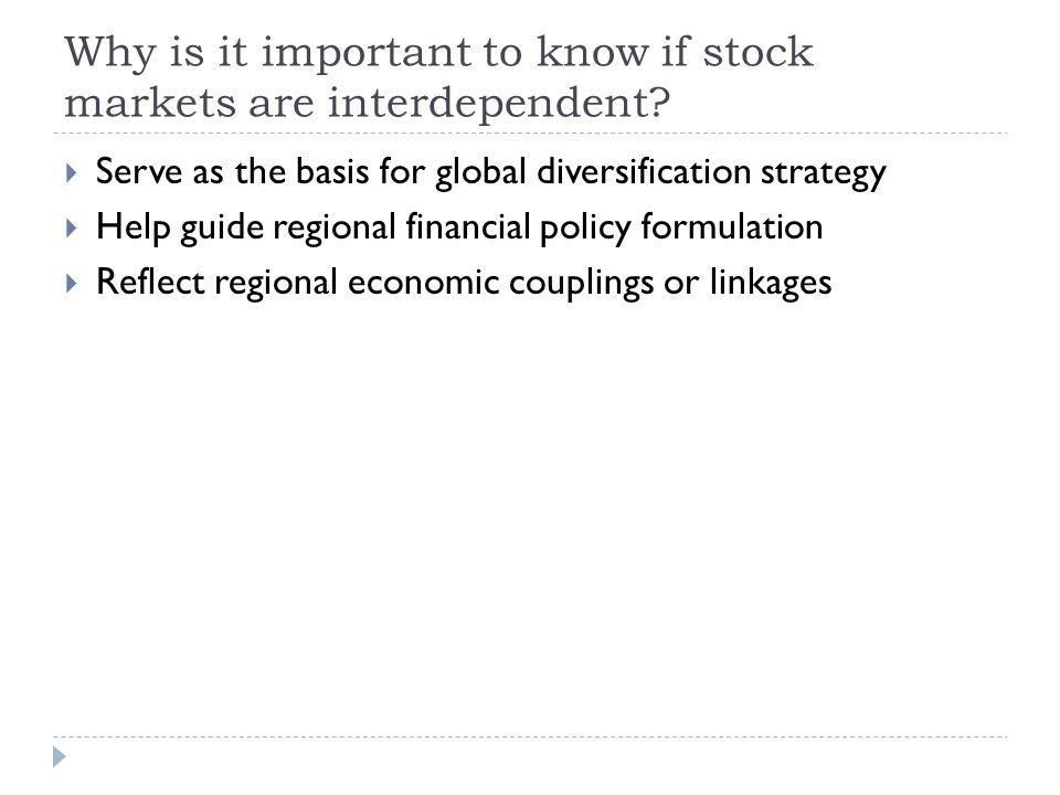 Why is it important to know if stock markets are interdependent? Serve as the basis for global diversification strategy Help guide regional financial