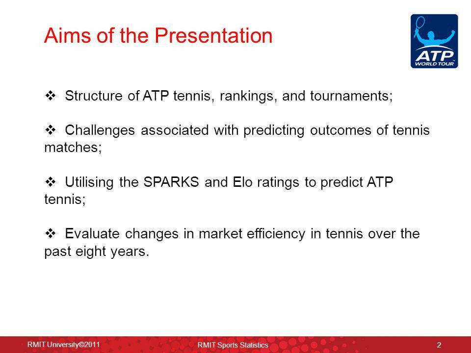 Market Efficiency in ATP Tennis: Bet365 RMIT University©2011 RMIT Sports Statistics 63 +