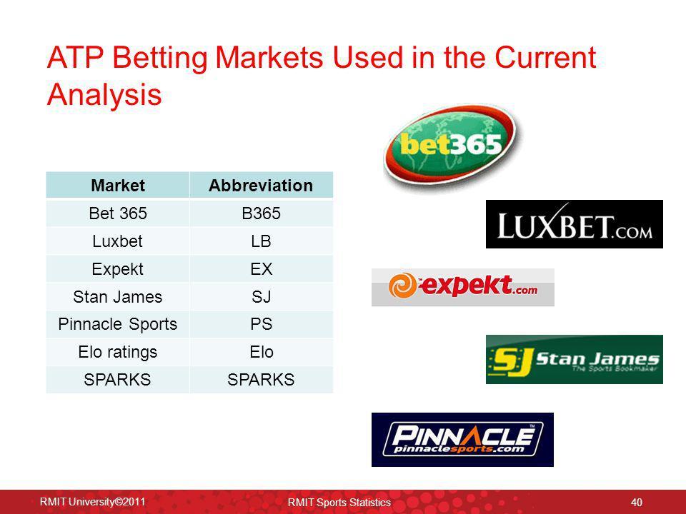 ATP Betting Markets Used in the Current Analysis RMIT University©2011 RMIT Sports Statistics 40 MarketAbbreviation Bet 365B365 LuxbetLB ExpektEX Stan