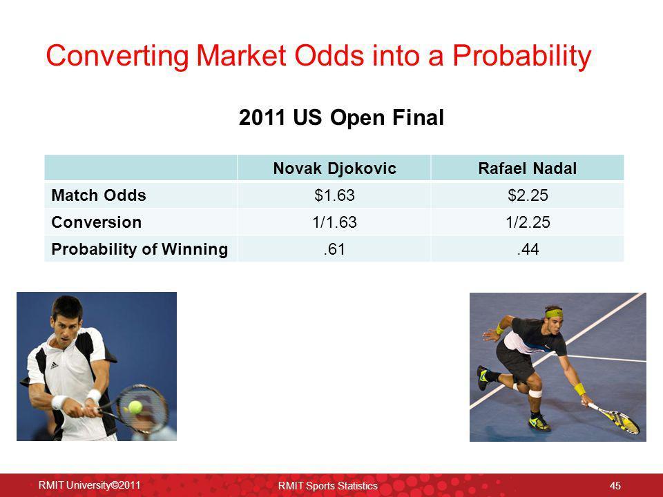 Converting Market Odds into a Probability RMIT University©2011 RMIT Sports Statistics 45 Novak DjokovicRafael Nadal Match Odds$1.63$2.25 Conversion1/1