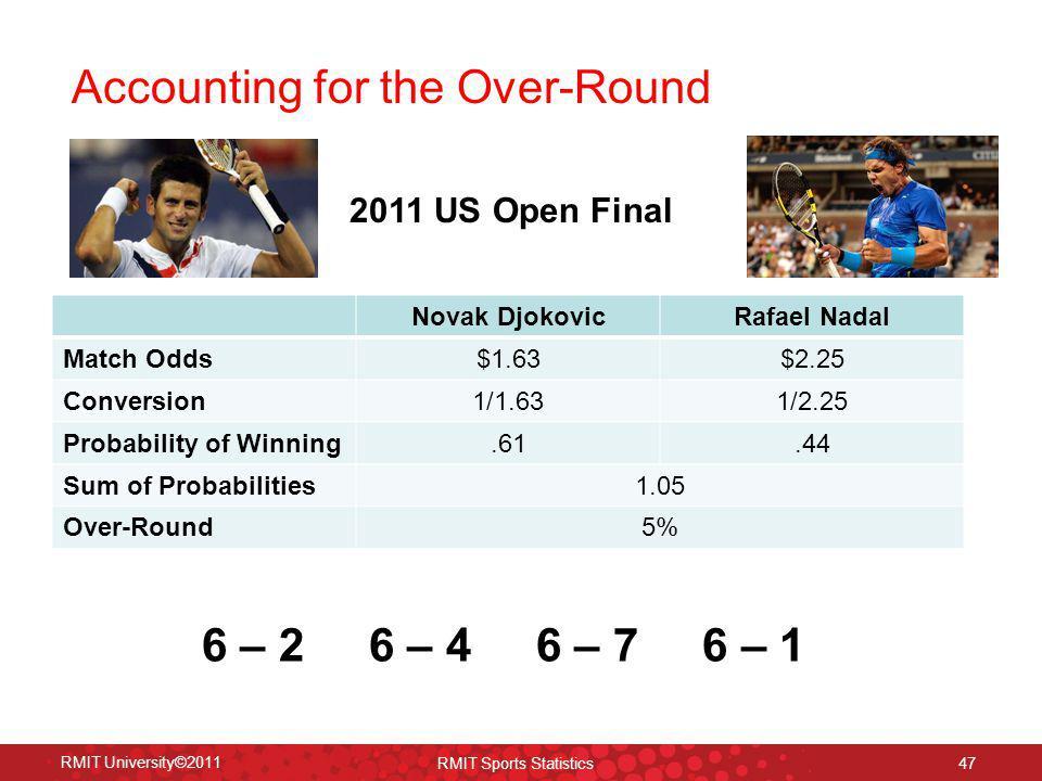 Accounting for the Over-Round RMIT University©2011 RMIT Sports Statistics 47 Novak DjokovicRafael Nadal Match Odds$1.63$2.25 Conversion1/1.631/2.25 Pr