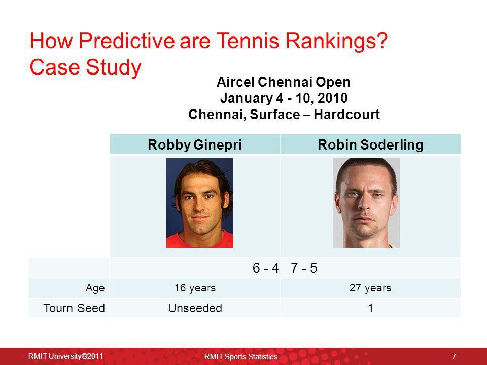 How Predictive are Tennis Rankings? Case Study RMIT University©2011 RMIT Sports Statistics 7 Robby GinepriRobin Soderling 6 - 4 7 - 5 Age16 years27 ye