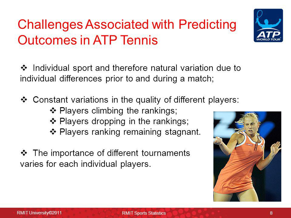 www.rmit.edu.au/sportstats Market Efficiency of ATP Tennis in Recent Years