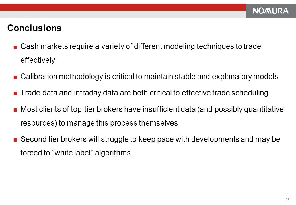 Conclusions Cash markets require a variety of different modeling techniques to trade effectively Calibration methodology is critical to maintain stabl