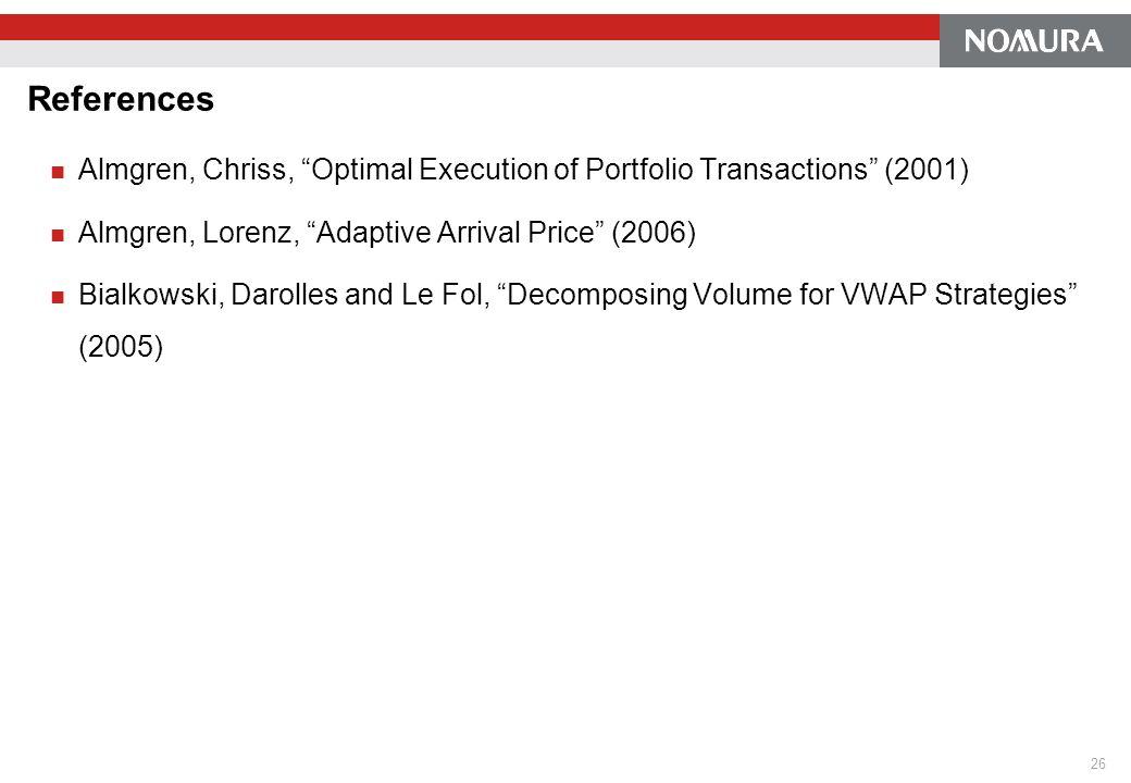 References Almgren, Chriss, Optimal Execution of Portfolio Transactions (2001) Almgren, Lorenz, Adaptive Arrival Price (2006) Bialkowski, Darolles and