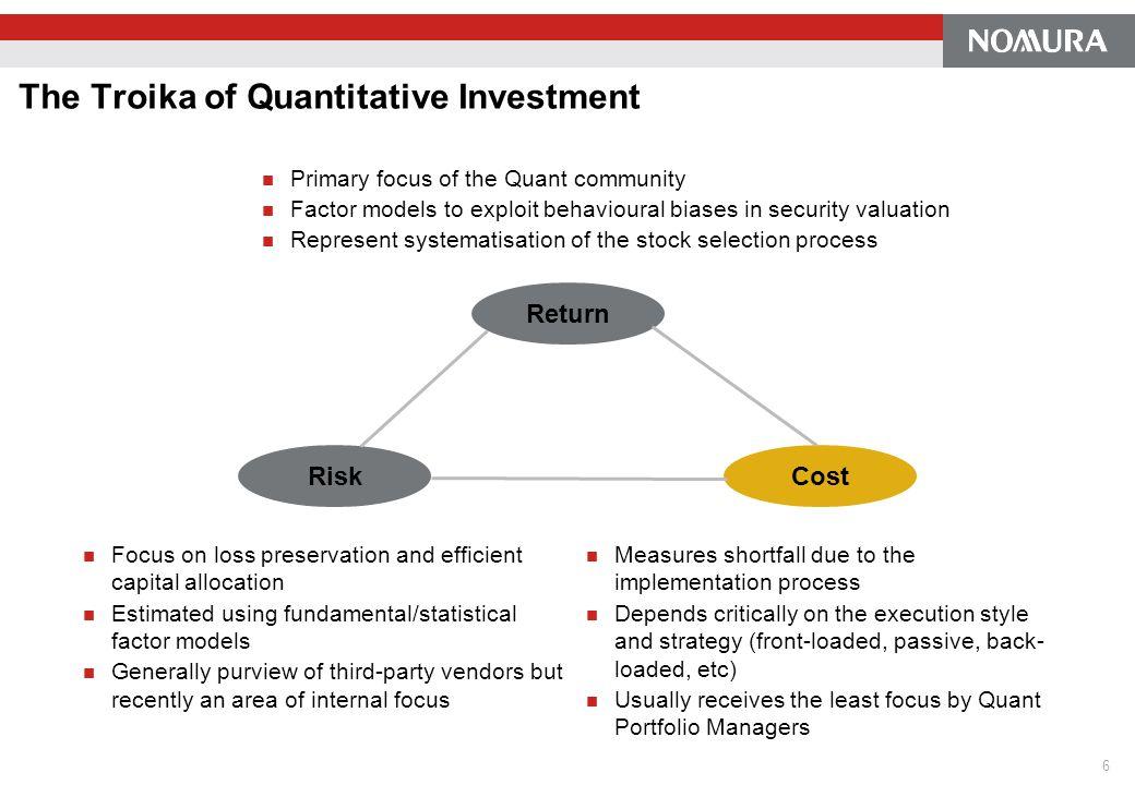 The Troika of Quantitative Investment Primary focus of the Quant community Factor models to exploit behavioural biases in security valuation Represent