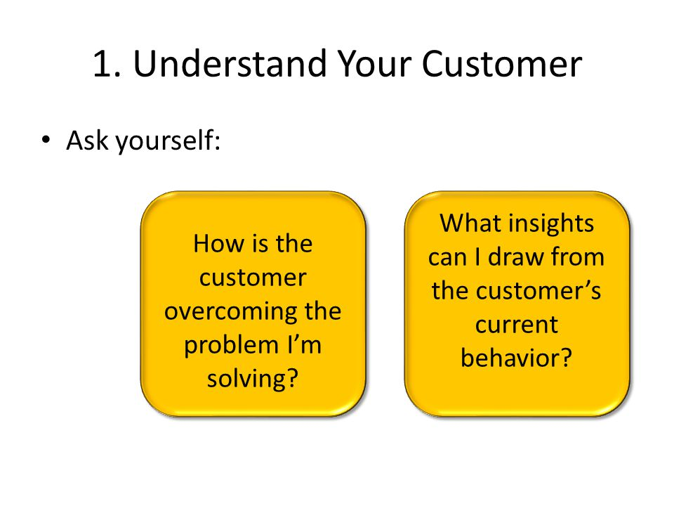 Two Primary Steps… understand your customer understand what your customer thinks about your product 1.2.