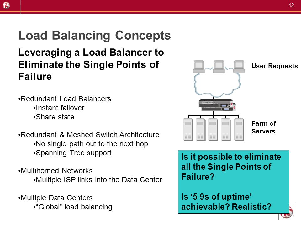 12 Load Balancing Concepts User Requests Farm of Servers Leveraging a Load Balancer to Eliminate the Single Points of Failure Redundant Load Balancers