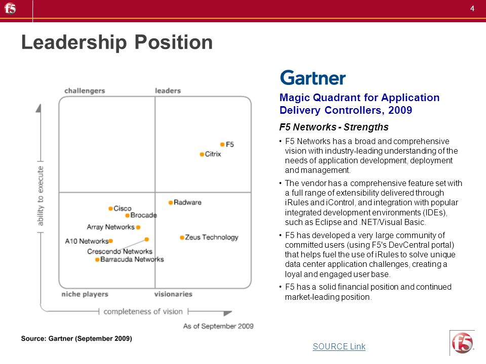 4 Magic Quadrant for Application Delivery Controllers, 2009 Leadership Position F5 Networks - Strengths F5 Networks has a broad and comprehensive visi