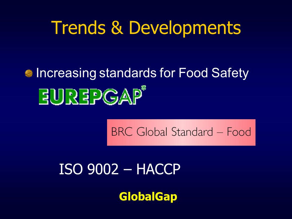 Trends & Developments Increasing standards for Food Safety ISO 9002 – HACCP GlobalGap