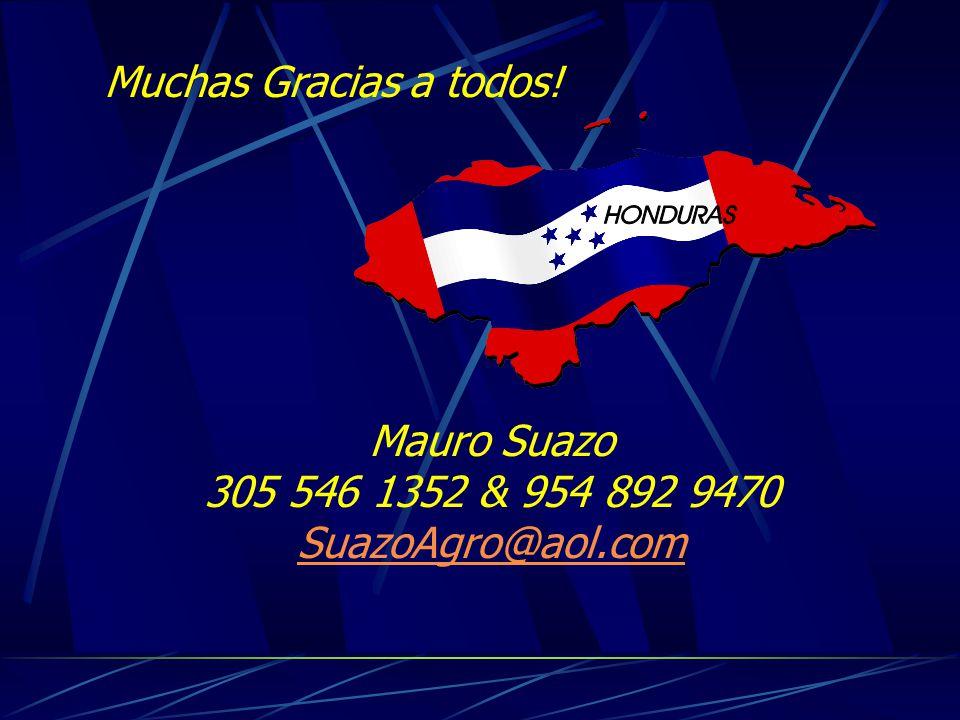 Muchas Gracias a todos! Mauro Suazo 305 546 1352 & 954 892 9470 SuazoAgro@aol.com