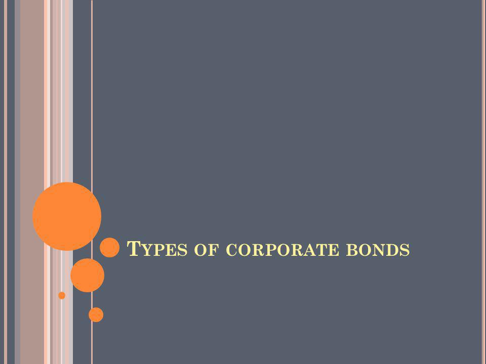 T YPES OF CORPORATE BONDS