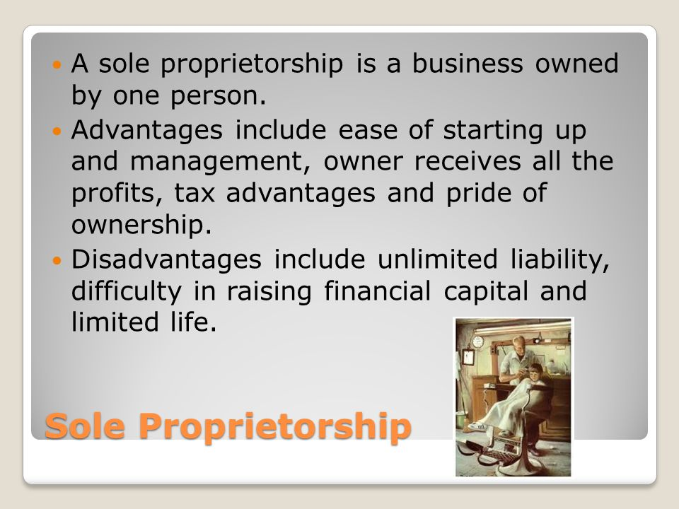 Sole Proprietorship A sole proprietorship is a business owned by one person.