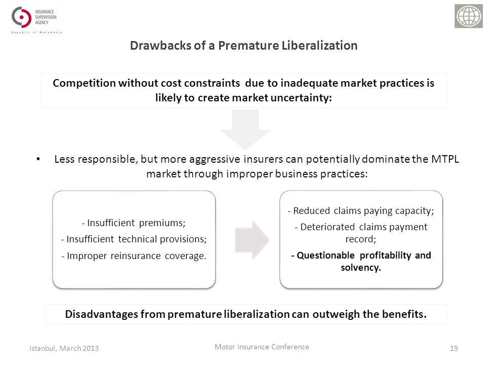 Less responsible, but more aggressive insurers can potentially dominate the MTPL market through improper business practices: Drawbacks of a Premature Liberalization - Insufficient premiums; - Insufficient technical provisions; - Improper reinsurance coverage.