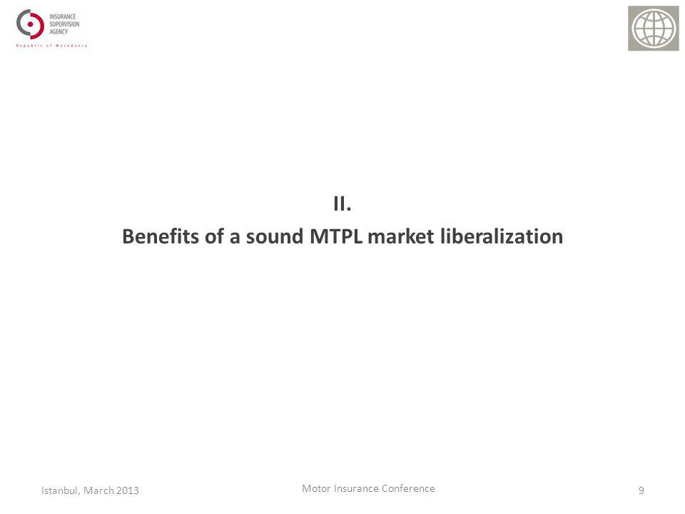 II. Benefits of a sound MTPL market liberalization 9Istanbul, March 2013 Motor Insurance Conference