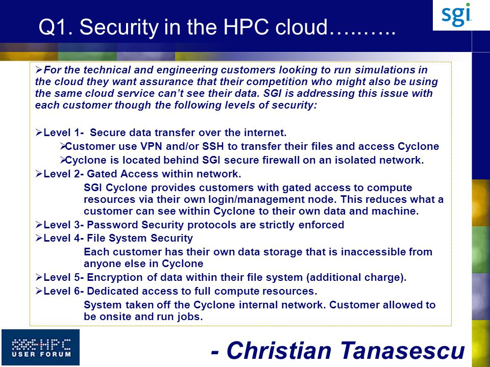 Q1. Security in the HPC cloud…..…..