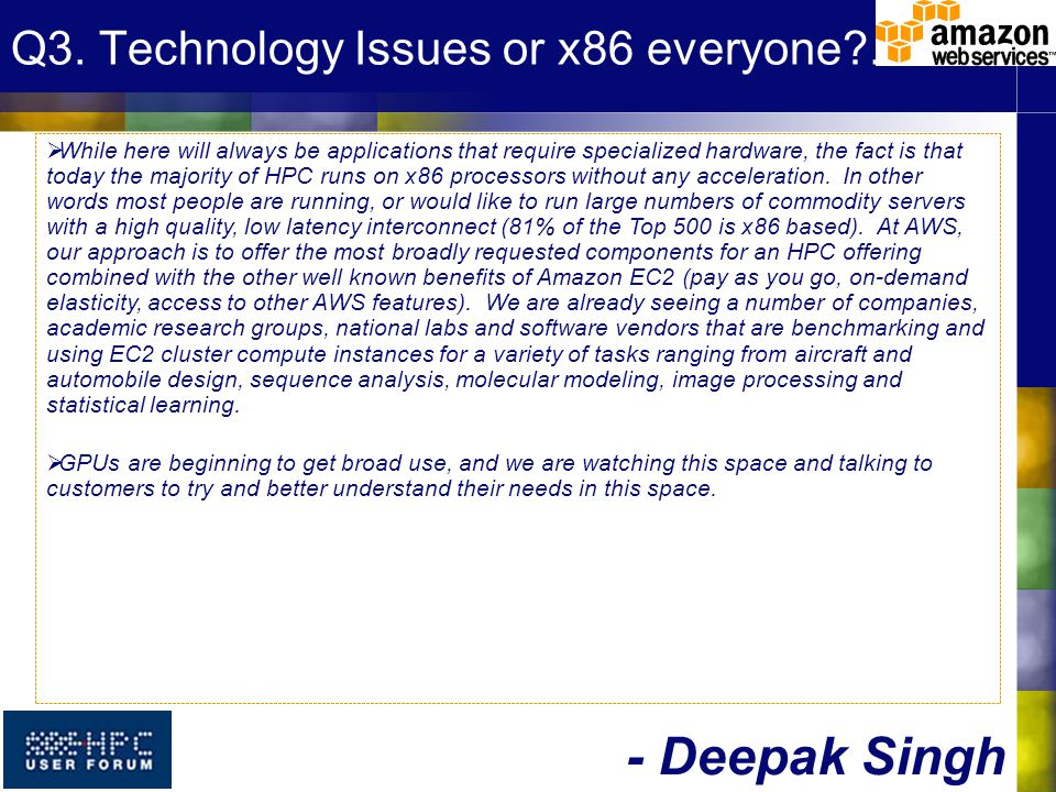 Q3. Technology Issues or x86 everyone?….
