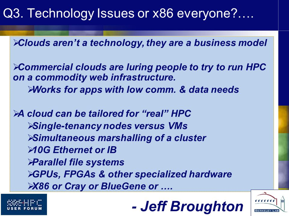 Q3. Technology Issues or x86 everyone ….