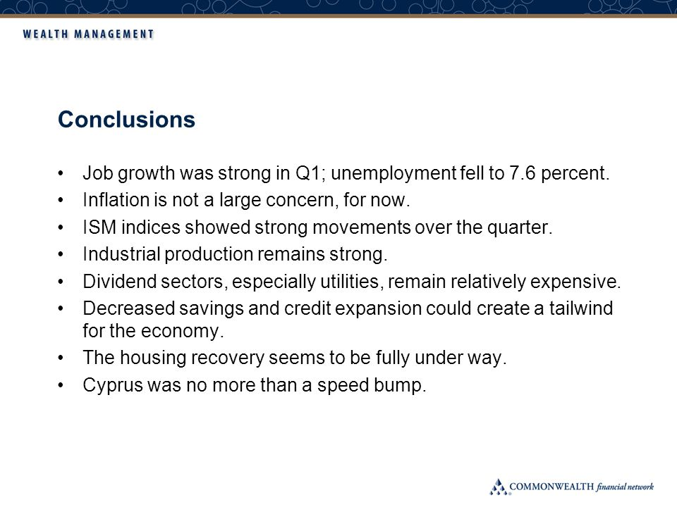 Conclusions Job growth was strong in Q1; unemployment fell to 7.6 percent.
