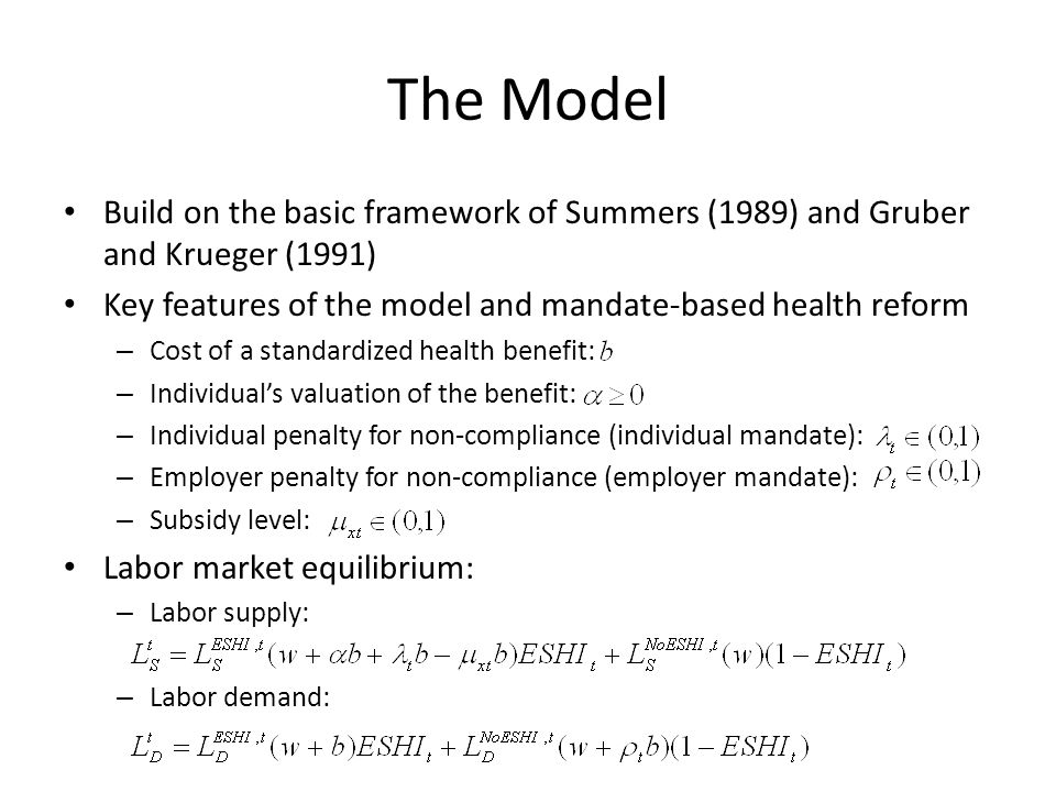 The Model Build on the basic framework of Summers (1989) and Gruber and Krueger (1991) Key features of the model and mandate-based health reform – Cos