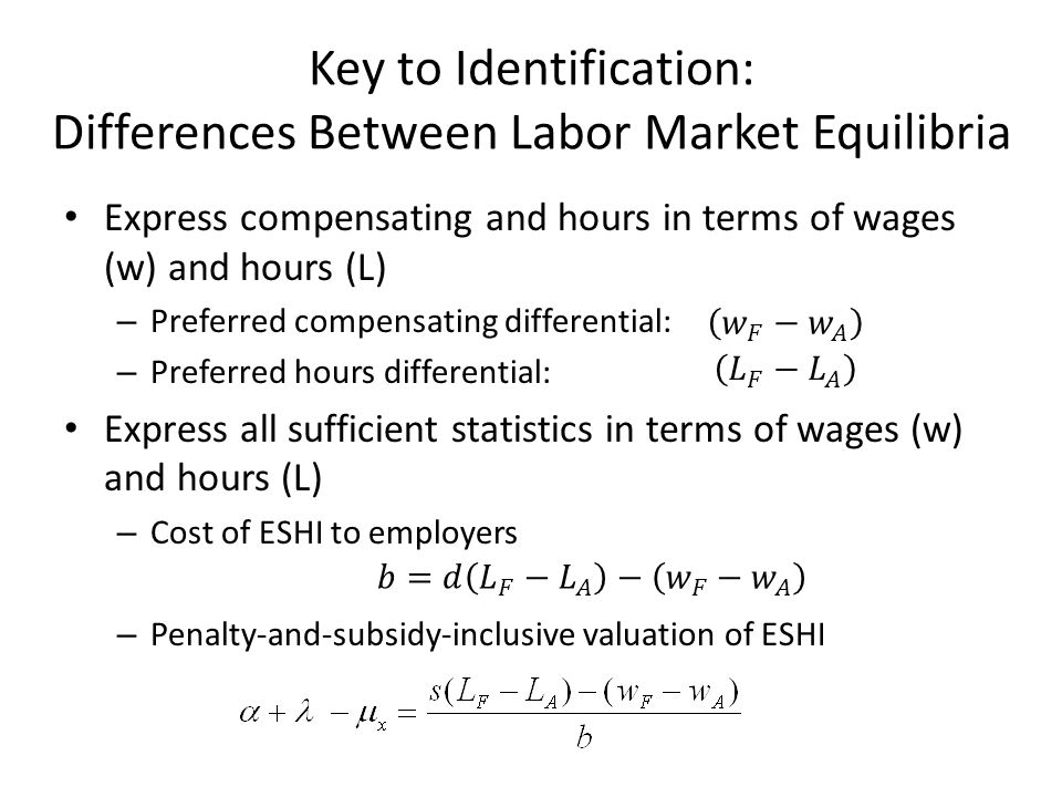 Key to Identification: Differences Between Labor Market Equilibria Express compensating and hours in terms of wages (w) and hours (L) – Preferred comp