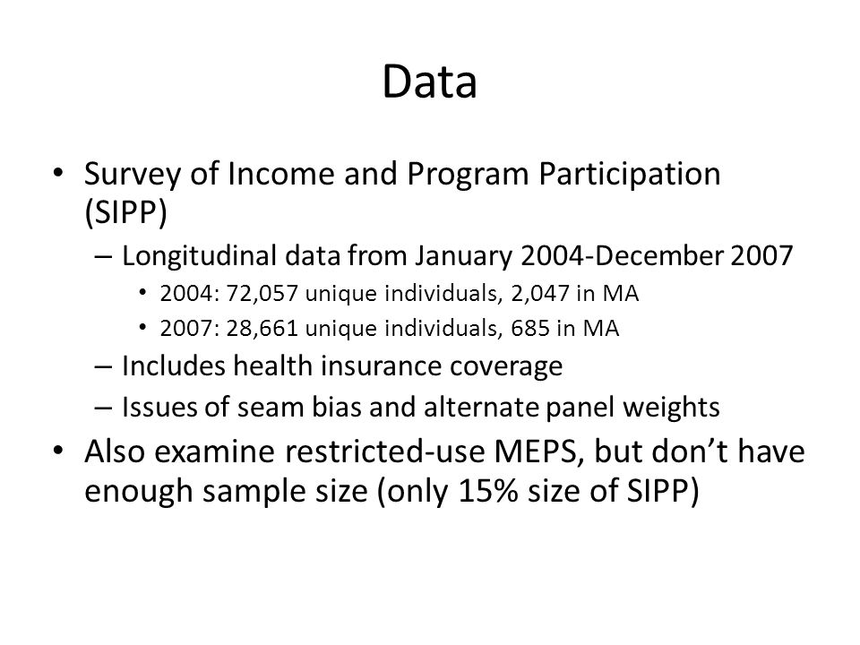 Data Survey of Income and Program Participation (SIPP) – Longitudinal data from January 2004-December 2007 2004: 72,057 unique individuals, 2,047 in M