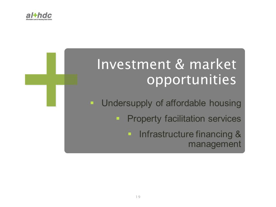 19 Investment & market opportunities Undersupply of affordable housing Property facilitation services Infrastructure financing & management