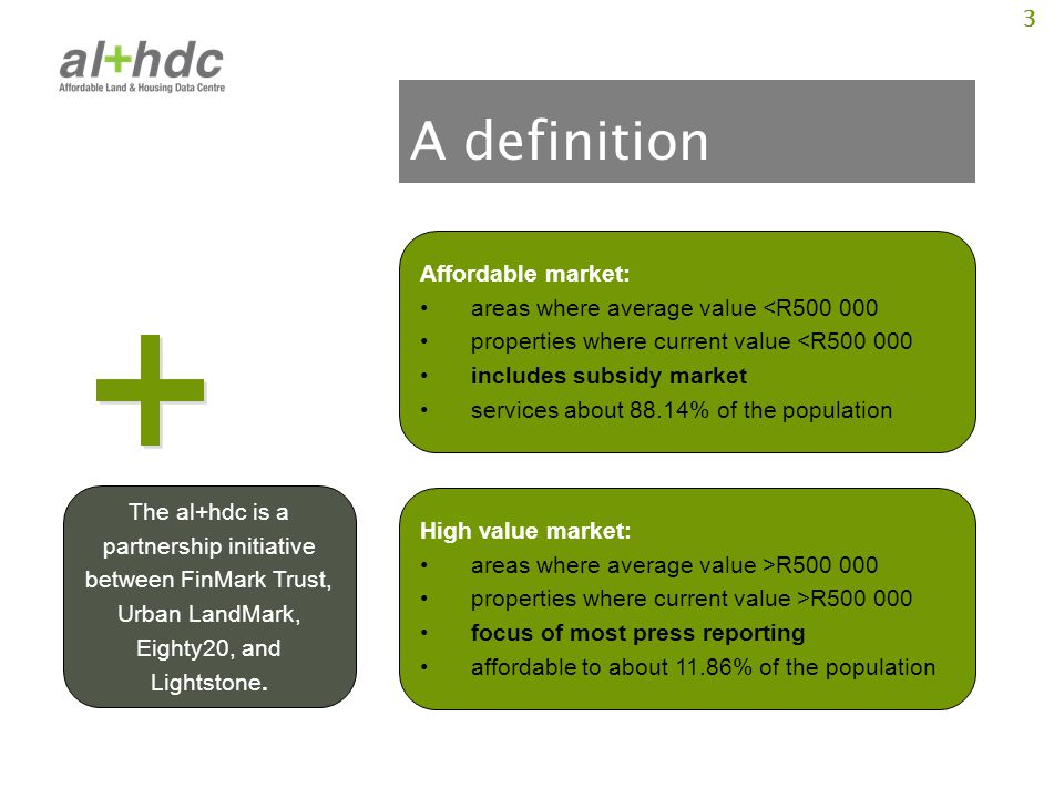 3 A definition Affordable market: areas where average value <R500 000 properties where current value <R500 000 includes subsidy market services about
