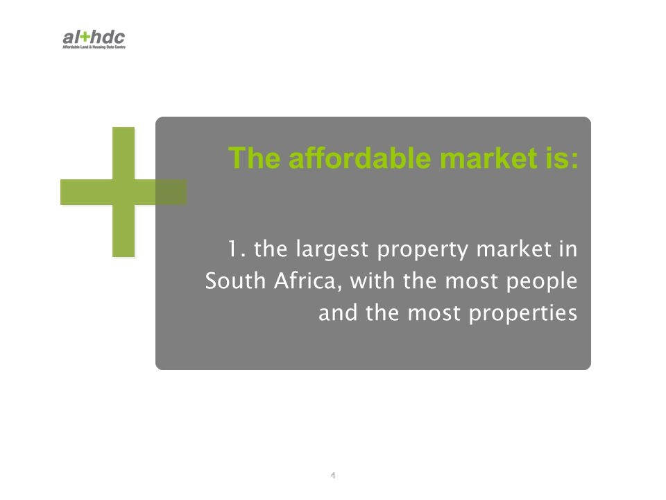 4 1. the largest property market in South Africa, with the most people and the most properties The affordable market is: