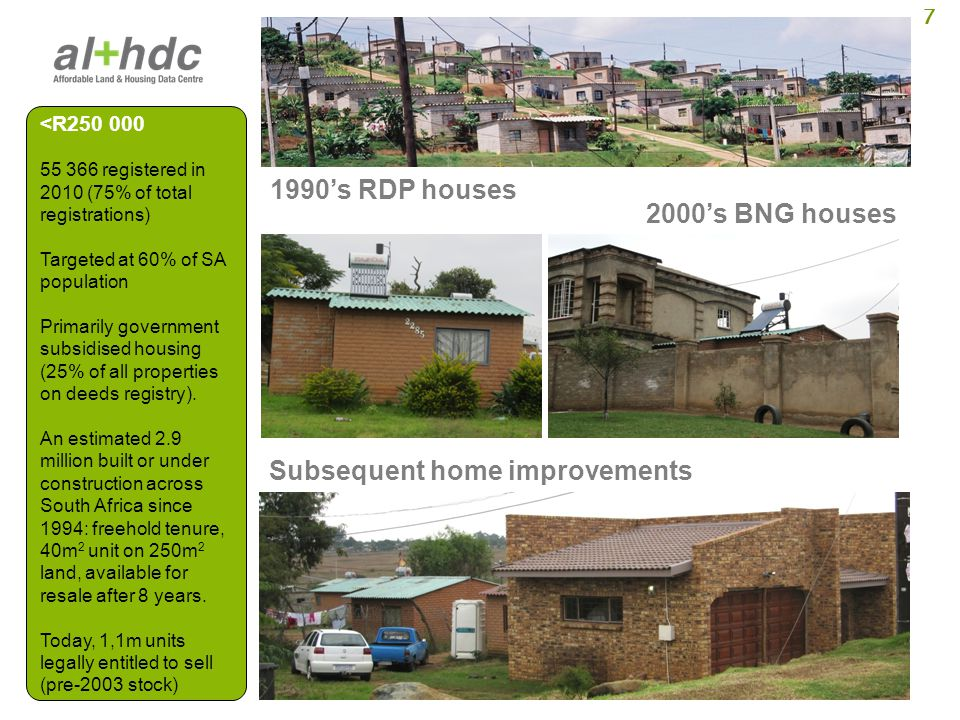 8 Sectional title walkups & flats New, gap market Old, depressed areas Inner city & township Subdivisions Improved RDP houses R250 000 – R500 000 6 252 registered in 2010 (9% of total registrations) Targeted at about 28% of SA population So-called gap market housing.