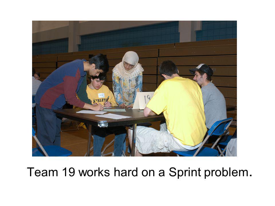 Team 19 works hard on a Sprint problem.