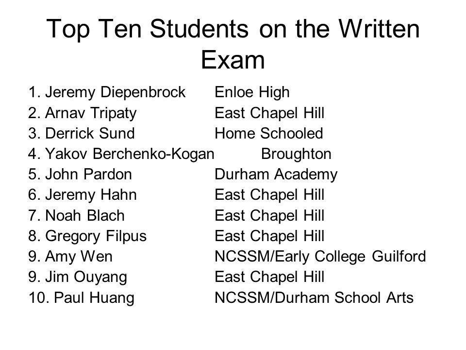 Top Ten Students on the Written Exam 1.Jeremy DiepenbrockEnloe High 2.
