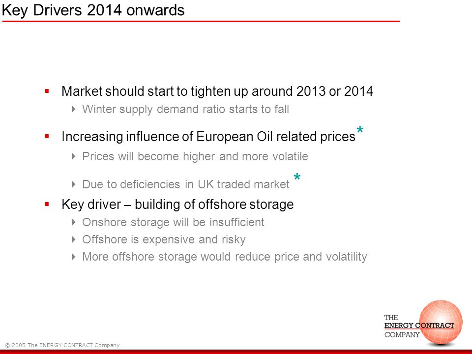 © 2005 The ENERGY CONTRACT Company Key Drivers 2014 onwards Market should start to tighten up around 2013 or 2014 Winter supply demand ratio starts to fall Increasing influence of European Oil related prices * Prices will become higher and more volatile Due to deficiencies in UK traded market * Key driver – building of offshore storage Onshore storage will be insufficient Offshore is expensive and risky More offshore storage would reduce price and volatility