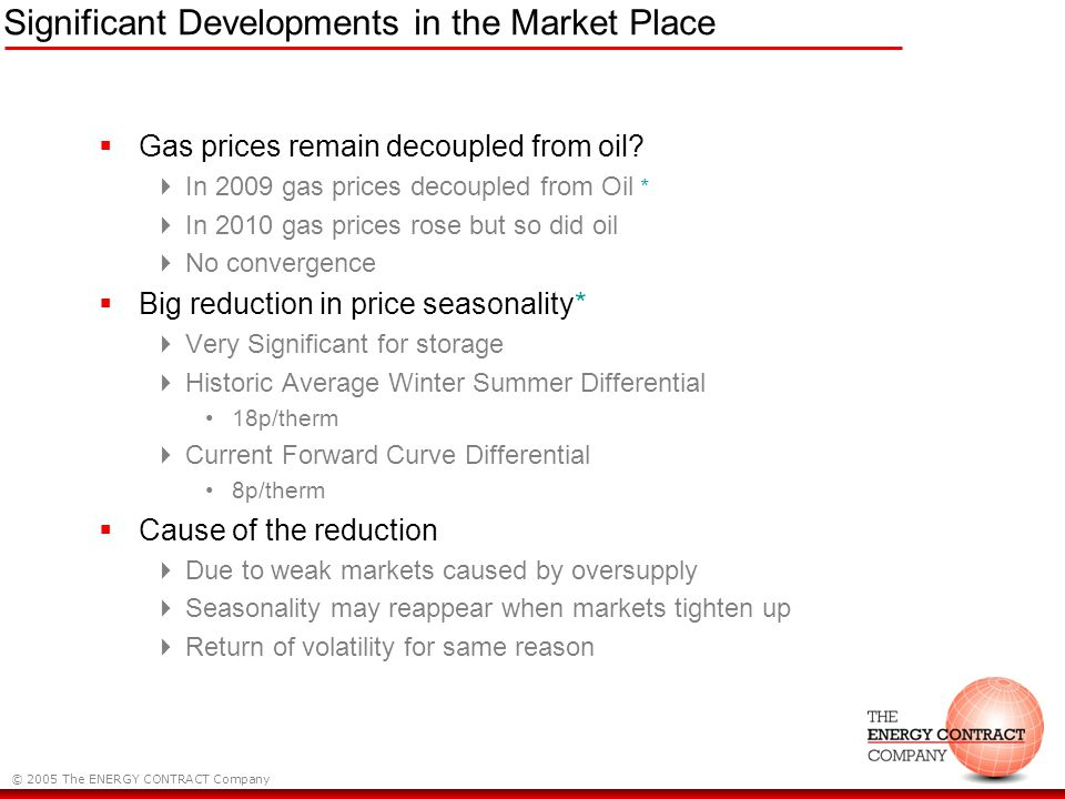 © 2005 The ENERGY CONTRACT Company Significant Developments in the Market Place Gas prices remain decoupled from oil.