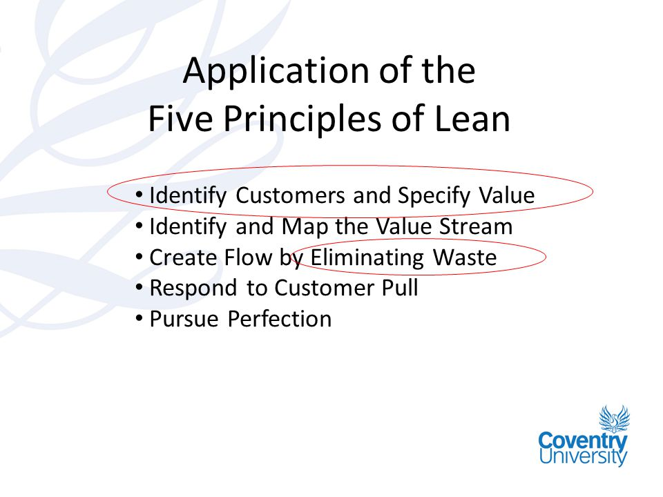 Application of the Five Principles of Lean Identify Customers and Specify Value Identify and Map the Value Stream Create Flow by Eliminating Waste Respond to Customer Pull Pursue Perfection