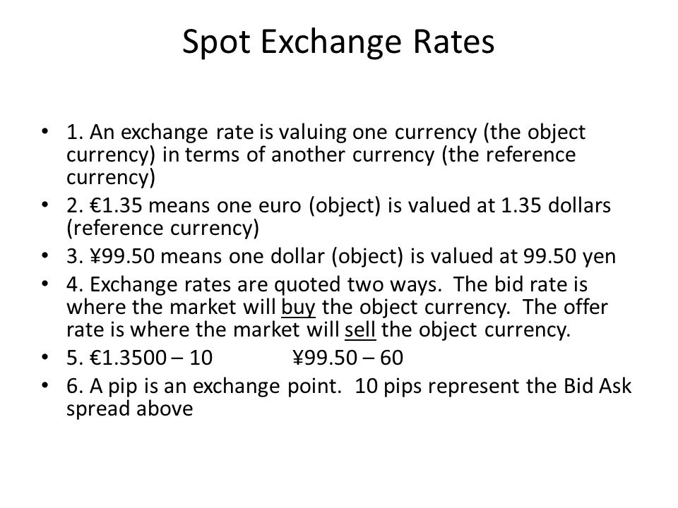 Spot Exchange Rates 1.