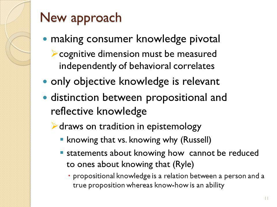 New approach making consumer knowledge pivotal cognitive dimension must be measured independently of behavioral correlates only objective knowledge is