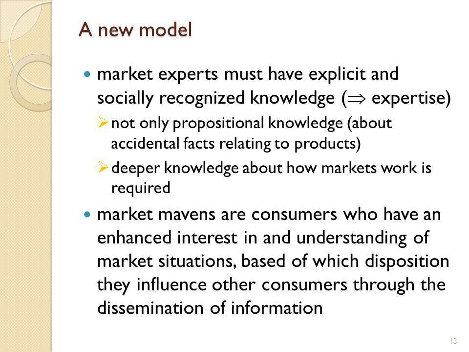 A new model market experts must have explicit and socially recognized knowledge ( expertise) not only propositional knowledge (about accidental facts