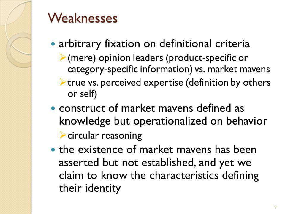 Weaknesses arbitrary fixation on definitional criteria (mere) opinion leaders (product-specific or category-specific information) vs. market mavens tr