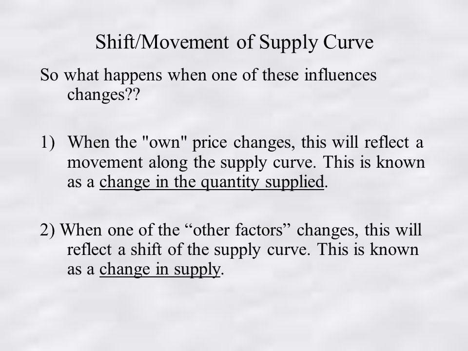 Shift/Movement of Supply Curve So what happens when one of these influences changes .