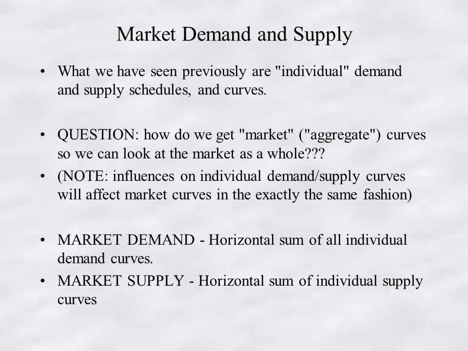 Market Demand and Supply What we have seen previously are individual demand and supply schedules, and curves.
