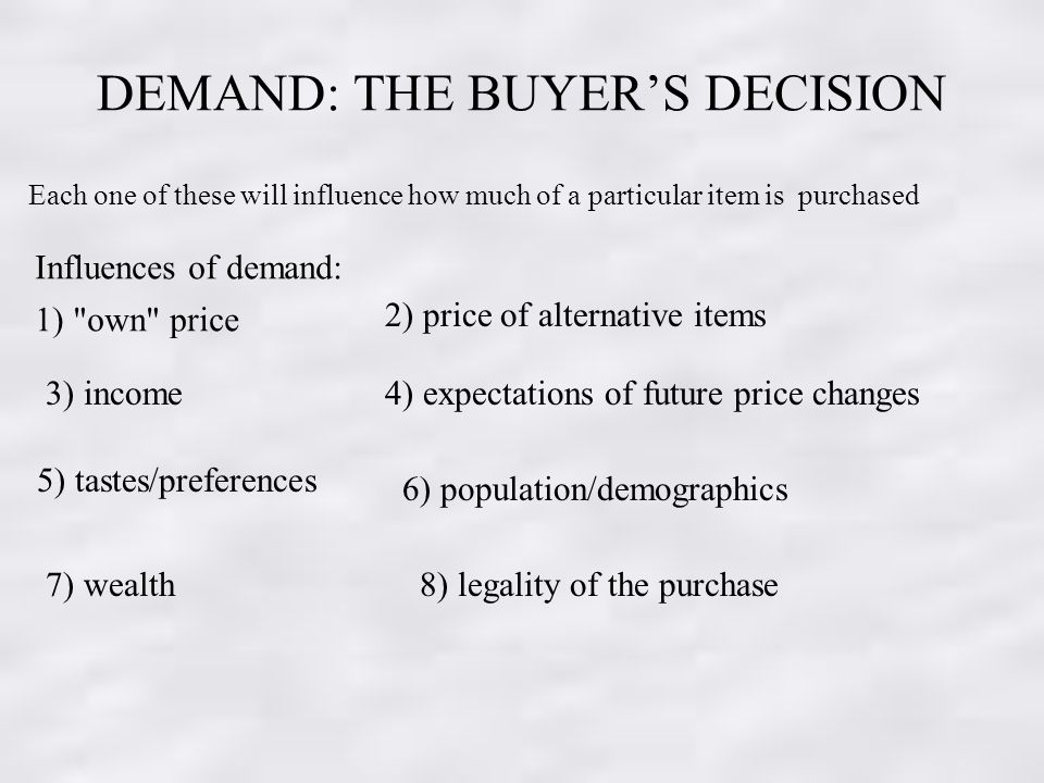 DEMAND: THE BUYERS DECISION Each one of these will influence how much of a particular item is purchased Influences of demand: 1) own price 2) price of alternative items 3) income4) expectations of future price changes 5) tastes/preferences 6) population/demographics 7) wealth8) legality of the purchase