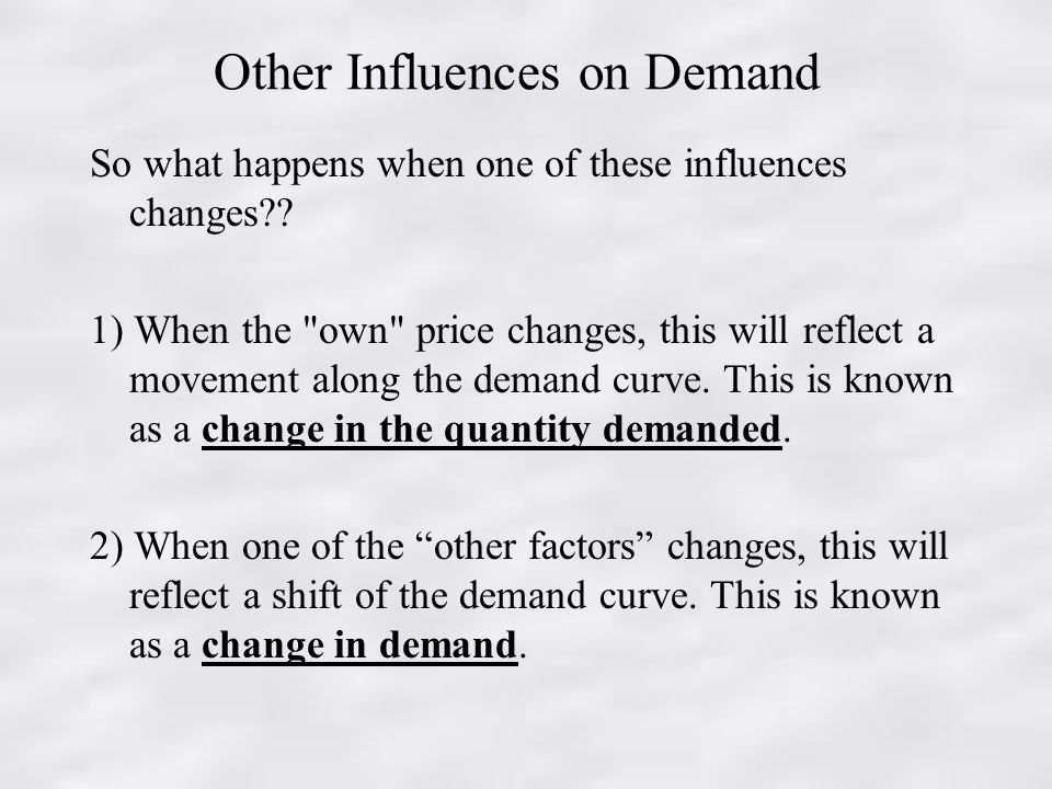 Other Influences on Demand So what happens when one of these influences changes .