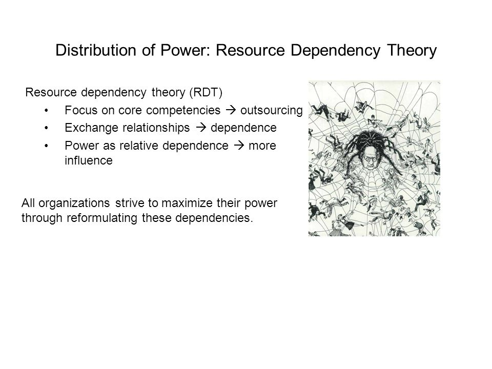Distribution of Power: Resource Dependency Theory Resource dependency theory (RDT) Focus on core competencies outsourcing Exchange relationships depen